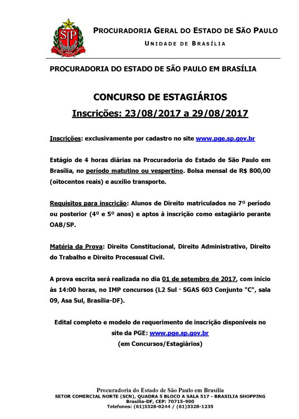 CARTAZ - Concurso de Estagiários. Brasília