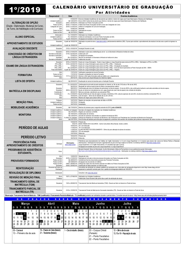calendario atividade unb 2019 1
