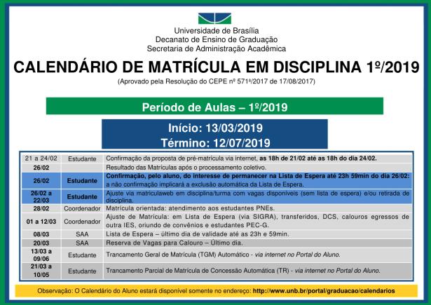 calendario matricula 1 2019
